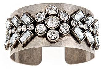 Blu Bijoux Silver Crystal Petal Cuff
