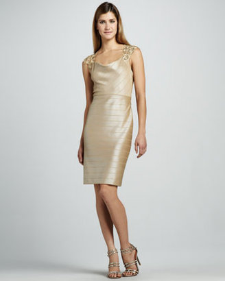 Kay Unger New York Embroidered Cowl-Neck Cocktail Dress
