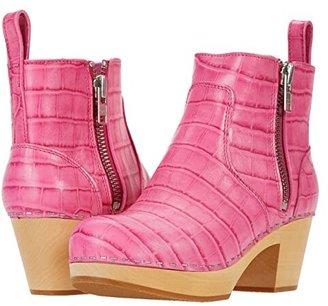 Swedish Hasbeens Zip It Emy (Hot Pink Croc) Women's Zip Boots