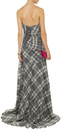 Oscar de la Renta Plaid-print pleated silk-chiffon gown