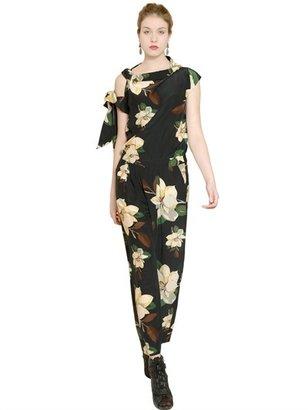 Vivienne Westwood Draped Flower Print Silk Satin Jumpsuit