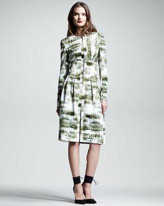 Wes Gordon Croc-Print Silk Trenchcoat