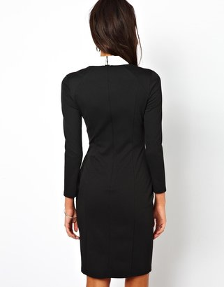 Asos Exclusive Body-Conscious Dress With Leather Look Collar
