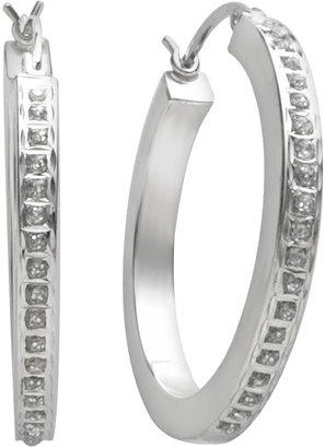 Mystique Diamond Platinum-Over-Silver Diamond Accent Hoop Earrings