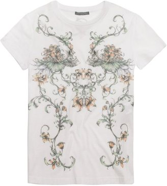 Alexander McQueen White Baroque Skull T-Shirt
