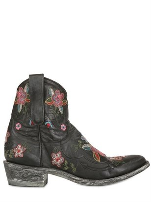 40mm Floral Embroidered Leather Boots