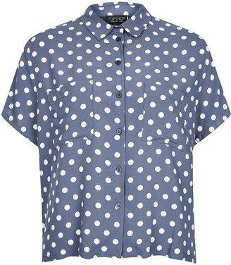 Topshop Casual Crop Polka Dot Shirt