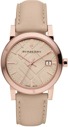 Burberry Watch, Women's Swiss Nude Leather Strap 34mm BU9109 $495 thestylecure.com