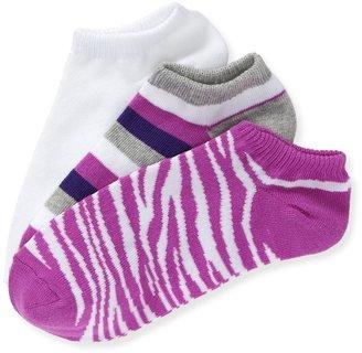 Aeropostale 3-Pack Zebra, Aero & Stripe Ped Socks