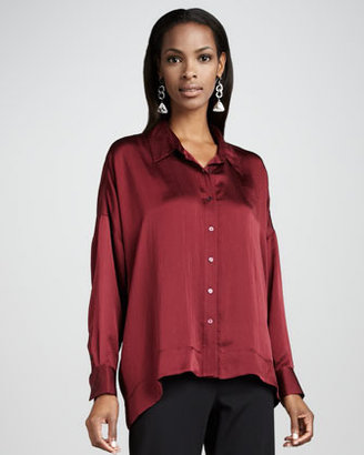 Eileen Fisher Hammered Satin Button-Front Shirt