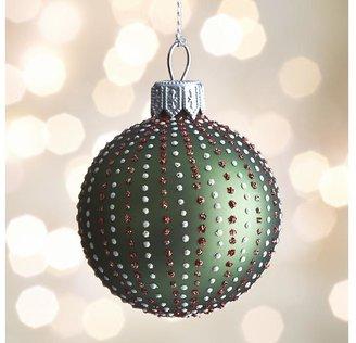 Crate & Barrel Green Dot Stripe Ball Ornament