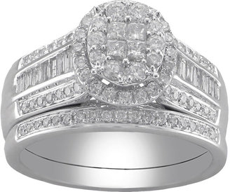 MODERN BRIDE Cherished Hearts 1 CT. T.W. Certified Diamond Princess-Cut and Round Bridal Ring Set