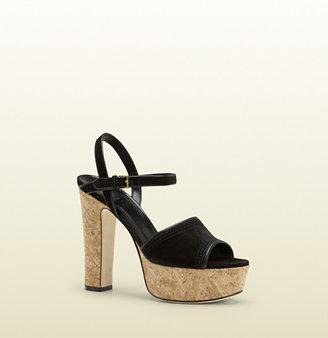 Gucci Danielle Black Suede Platform Sandal