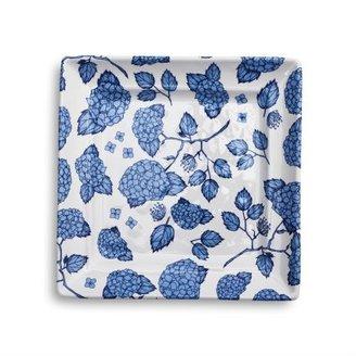 Sur La Table Light Blue Hydrangea Square Appetizer Plate