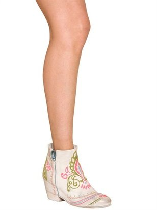 Strategia 80mm Embroidered Calf Low Boots