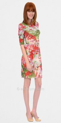 Kay Unger Floral Print Mesh Day Dresses