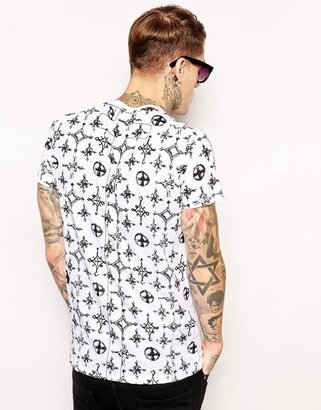 Religion T-Shirt with Praying Skeleton and Printed Back