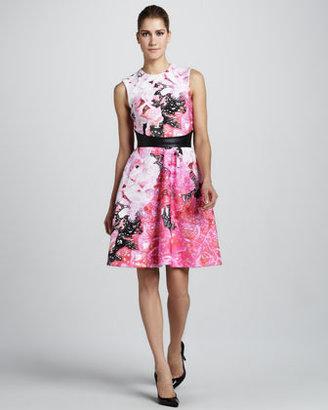 Monique Lhuillier Floral-Print Sleeveless Dress