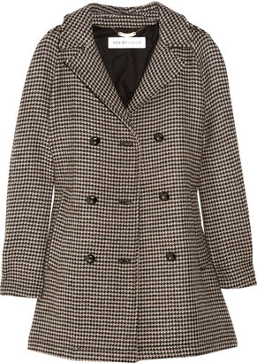 See by Chloe Double-breasted wool-jacquard coat
