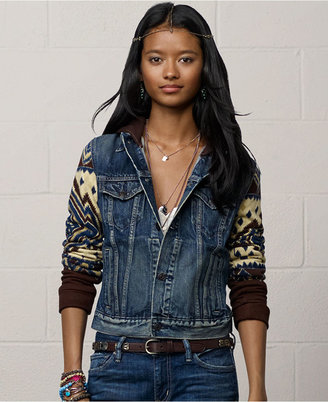 Denim & Supply Ralph Lauren Jacket, Knit-Sleeve Denim