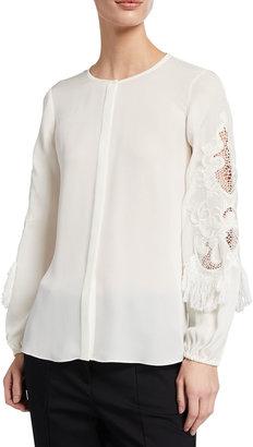 Kobi Halperin Nella Embellished-Sleeve Silk Blouse