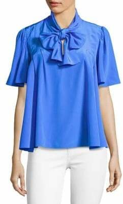 Diane von Furstenberg Neck-Tie Short Sleeve Silk Blouse