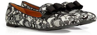Marc by Marc Jacobs Lace/Leather Slipper in Black/White