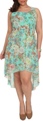 Wet Seal Floral Printed Lace Back Dress