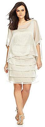 London Times Woman Mod Capelet Shutter-Skirt Dress