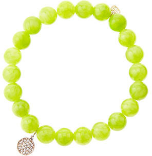 Sydney Evan 8mm Smooth Lime Jade Beaded Bracelet with Mini Rose Gold Pave Diamond Disc Charm (Made to Order)