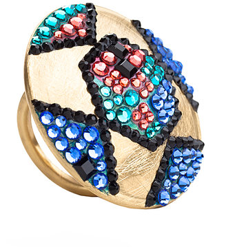 Jimmy Crystal New York Art Deco Nugget Ring