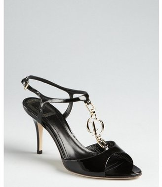 Christian Dior black patent leather logo charmed t-strap sandals