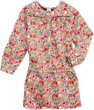 Petit Bateau Girl'S Long-Sleeved Dress In Flower Print Cotton Satin