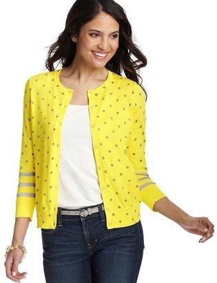 LOFT Dot and Stripe 3/4 Sleeve Pima Cotton Cardigan