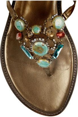 Oscar de la Renta Taormina embellished metallic leather sandals