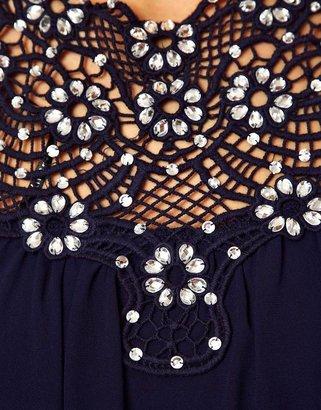 TFNC Swing Dress in Jewelled Crochet
