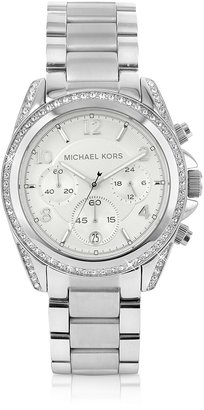 Michael Kors Silver Runway Watch with Glitz $275 thestylecure.com