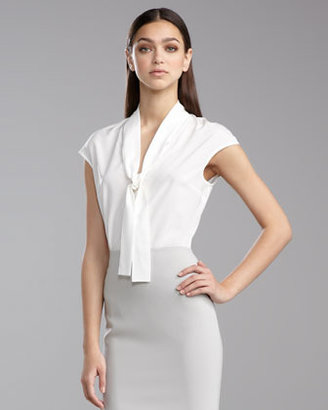 St. John Cap-Sleeve Ascot Blouse, Bright White