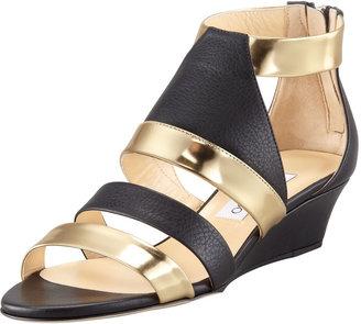 Jimmy Choo Brook Low-Wedge Matte-Metallic Sandal