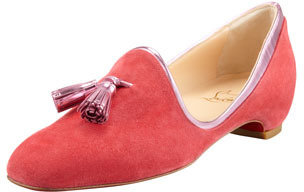 Christian Louboutin Lady Moc Suede Loafer, Rose Paris