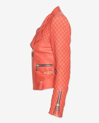 Barbara Bui Exclusive Moto Leather Jacket: Coral