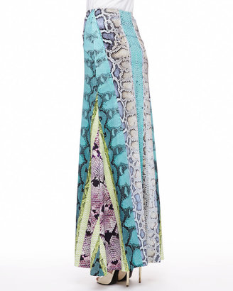 Roberto Cavalli Embroidered Bib Poplin Blouse, White