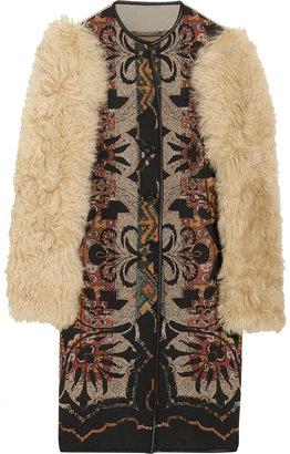 Etro Lamb-sleeved printed wool-blend coat