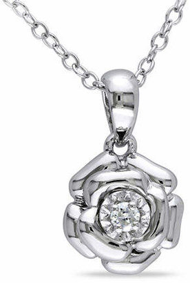 HBC CONCERTO 0.05 TCW Diamond Sterling Silver Flower Necklace