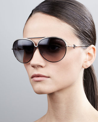 Roberto Cavalli Logo-Temple Aviator Sunglasses, Black