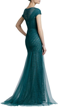 Monique Lhuillier Short-Sleeve Lace & Tulle Gown