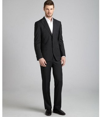 Zegna Z dark grey pinstripe wool 2-button suit with flat front pants