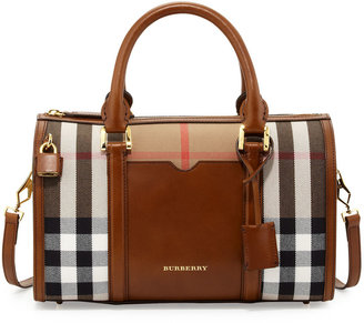 Burberry Check & Leather Medium Satchel Bag, Brown