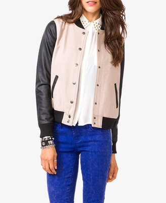 Forever 21 Faux Leather Sleeve Varsity Jacket