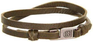 Gorjana Harrison Leather Double Wrap (Olive) (Oxidized Silver) (Olive) - Jewelry